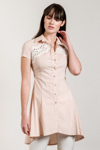 HIGH LOW SHIRT WITH LACE DETAIL