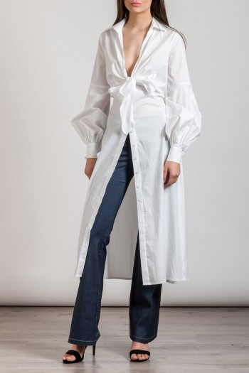 LONG SHIRT WITH GATHERED SLEEVE