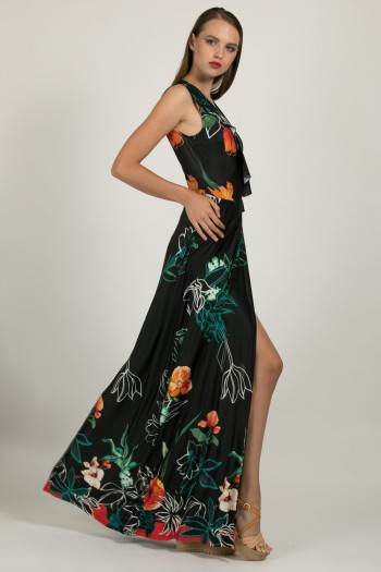 BLACK WRAP LONG DRESS WITH TROPICAL PRINT