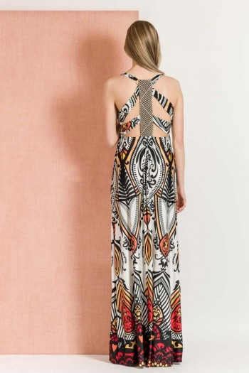 EMBELLISHED BACK MAXI PRINTED DRESS