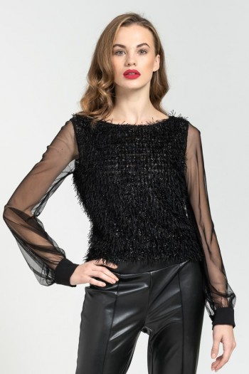 MESH SLEEVE HAIRY BLOUSE