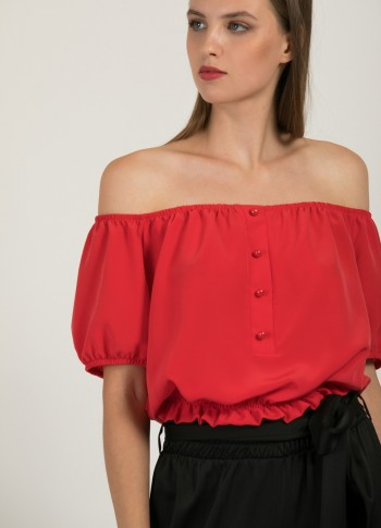 OFF THE SHOULDER CROP TOP WITH BUTTONS