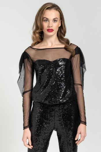 SEQUIN BLACK TOP WITH MESH SLEEVES