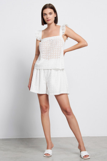 HIGH WAISTED BRODERIE SHORTS