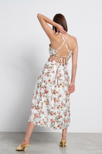 FLORAL MIDI DRESS WITH FOLDS