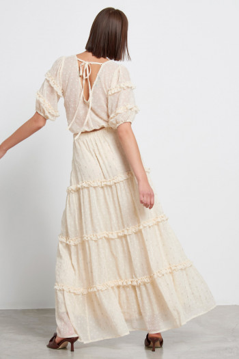 EMBROIDERED MOUSSELINE RUFFLE TRIM MAXI SKIRT
