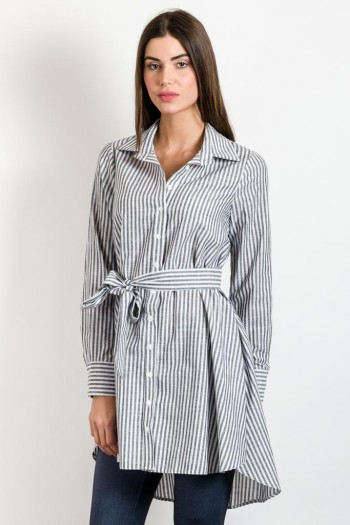 STRIPED HIGH-LOW SHIRT