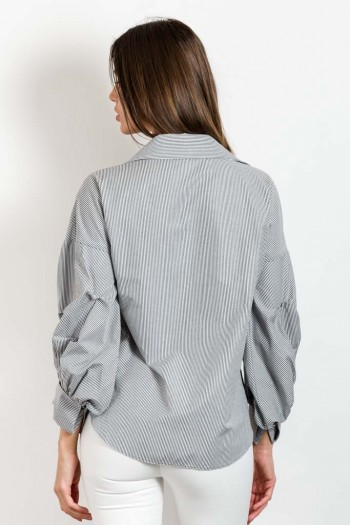 STRIPED SHIRT WITH GATHERED SLEEVE