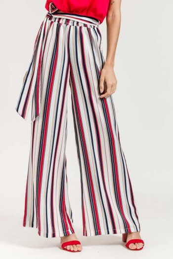 STRIPED WIDE TROUSERS WITH FABRIC BELT