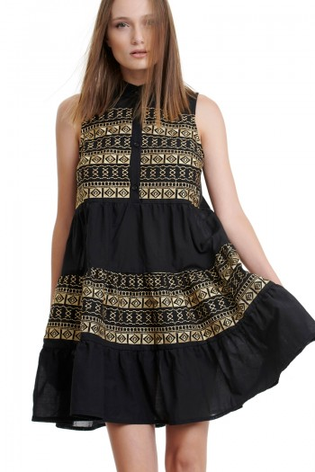 EMBROIDERED TIERED SMOCK DRESS