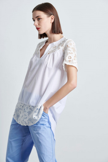 LACE POPLIN HIGH LOW BLOUSE