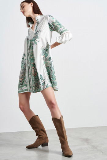 BOHO MINI DRESS WITH PAISLEY