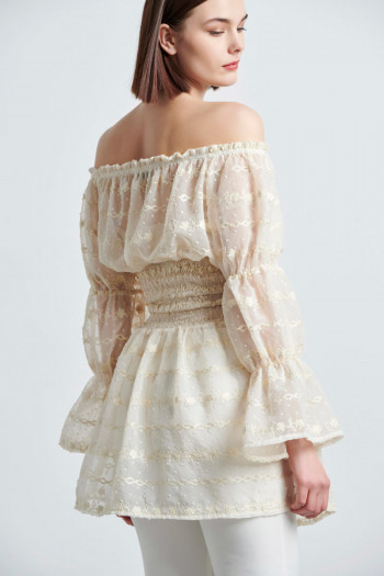 OFF SHOULDER EMBROIDERY CHIFFON BLOUSE