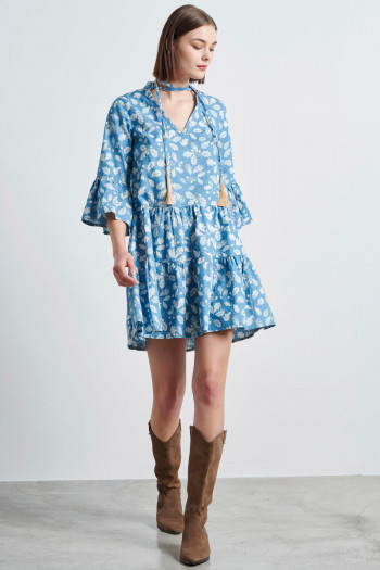 PRINTED DENIM BOHO DRESS