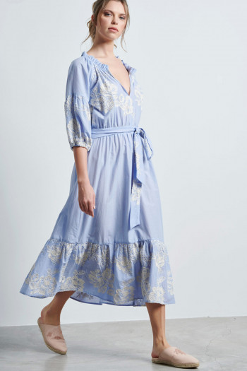 FLORAL EMBROIDERY MIDI DRESS