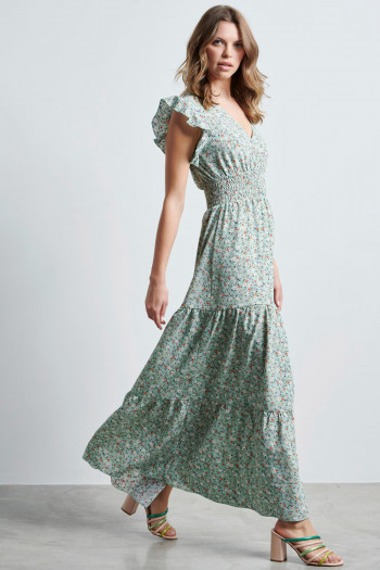 FLORAL SMOKED WAIST LONG DRESS