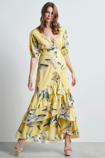 RUFFLE FLORAL LONG DRESS