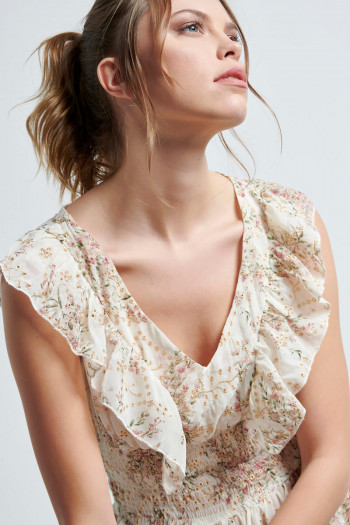 FLORAL EMBROIDERED MOUSSELINE MAXI DRESS