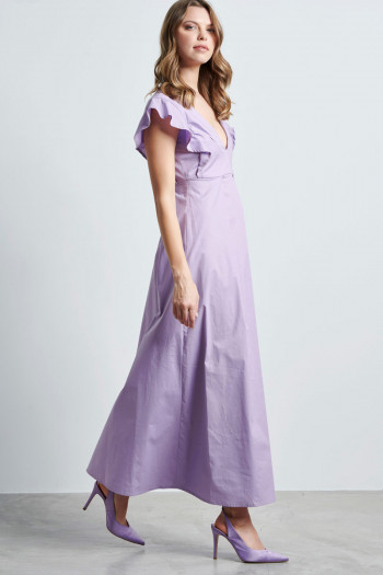RUFFLE COTTON LONG DRESS