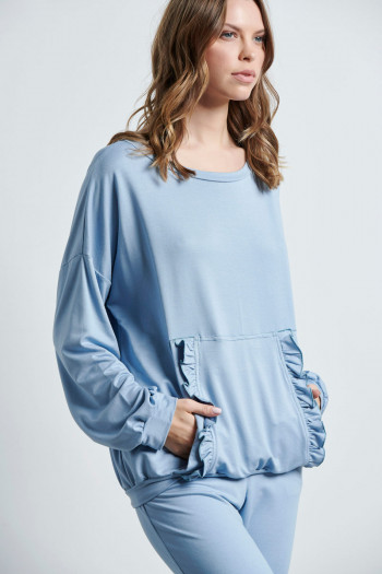 BLOUSE WITH FLOUNCED FRONT POCKET