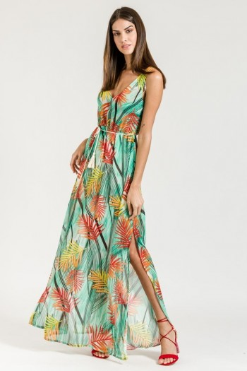 TROPICAL PRINT LONG CHIFFON DRESS