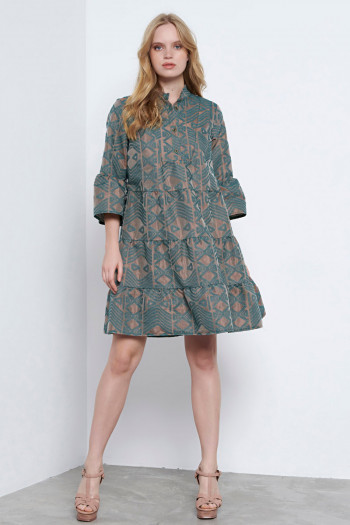 RUFFLE BROCADE DRESS