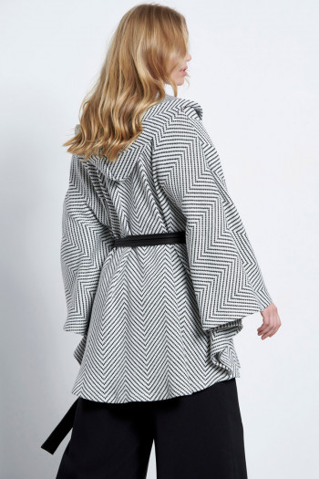 HOODED JACQUARD PONCHO