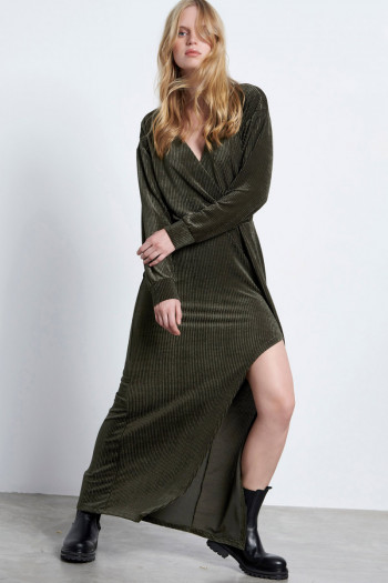 LONG CHENILLE WRAP DRESS