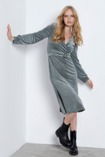 MIDI CHENILLE WRAP DRESS