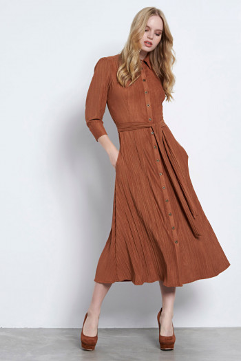 PLEATED ALCANTARA SHIRT DRESS