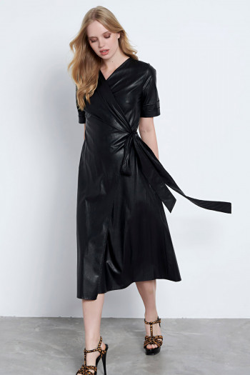 WRAP OVER ECO LEATHER MIDI DRESS
