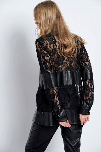 ECO LEATHER & LACE SHIRT