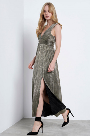 SILVER-GOLD MIDI PLEATED DRESS