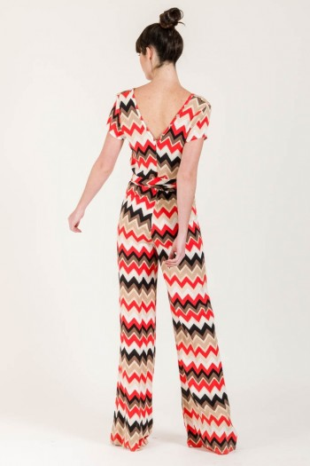 WRAP JUMPSUIT WITH GEOMETRIC PRINT