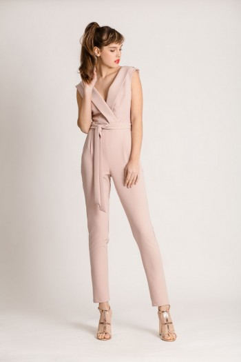 WRAP JUMPSUIT WITH NOTCH-COLLAR