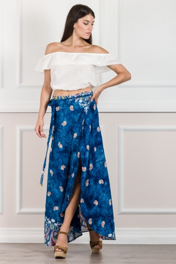 BOHEMIAN WRAP FRONT SKIRT WITH SLIT