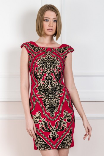 MINI DRESS WITH VELVET PAISLEY DETAILS
