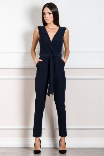WRAP JUMPSUIT WITH NOTCH COLLAR