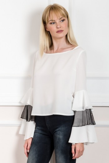 EVE KAY TOP WITH ASYMMETRIC RUFFLE SLEEVES