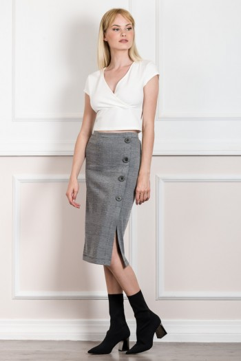 EVE KAY MIDI SKIRT WITH SIDE BUTTON DETAIL