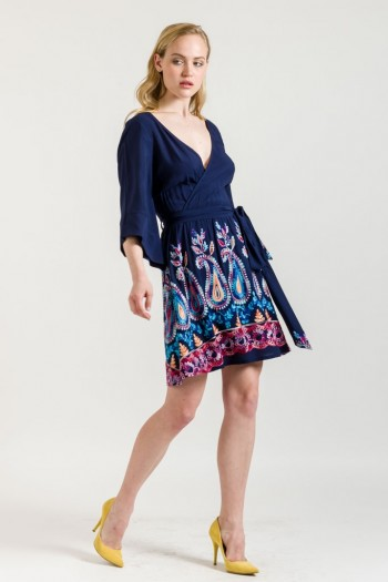 PAISLEY EMBROIDERED WRAP DRESS