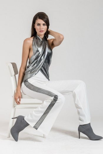 ELASTIC BELL TROUSERS WITH SIDE METALLIC STRIPES
