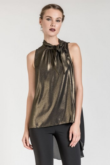 HIGH LOW METALLIC TOP