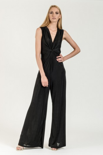 JERSEY JUMPSUIT WITH TIE FRONT