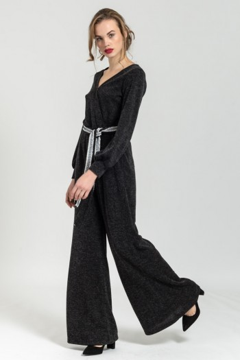 KNITTED WRAP JUMPSUIT WITH BELT