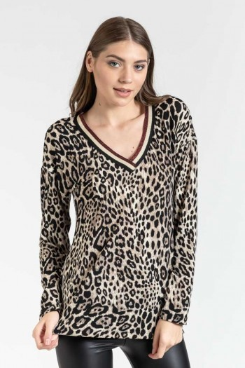 LEOPARD V NECK BLOUSE WITH STRIPES