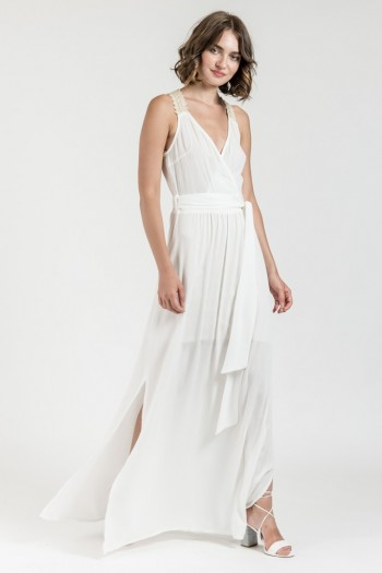 MAXI DRESS WITH LACE STRAPS