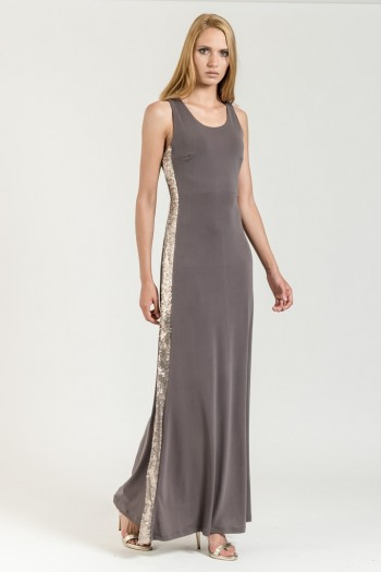 MAXI DRESS WITH SEQUIN STRIPES
