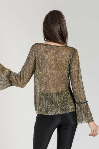 METALLIC BLOUSE WITH BELL SLEEVES