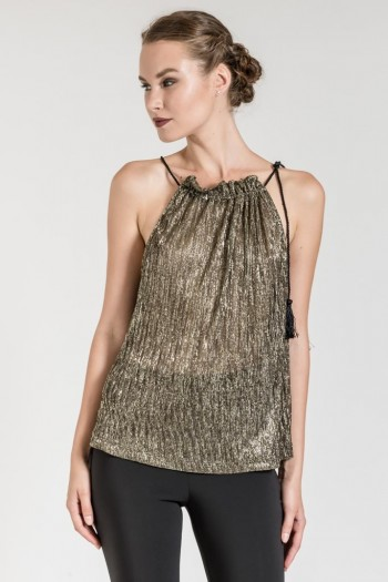 METALLIC TOP WITH ROUND NECK